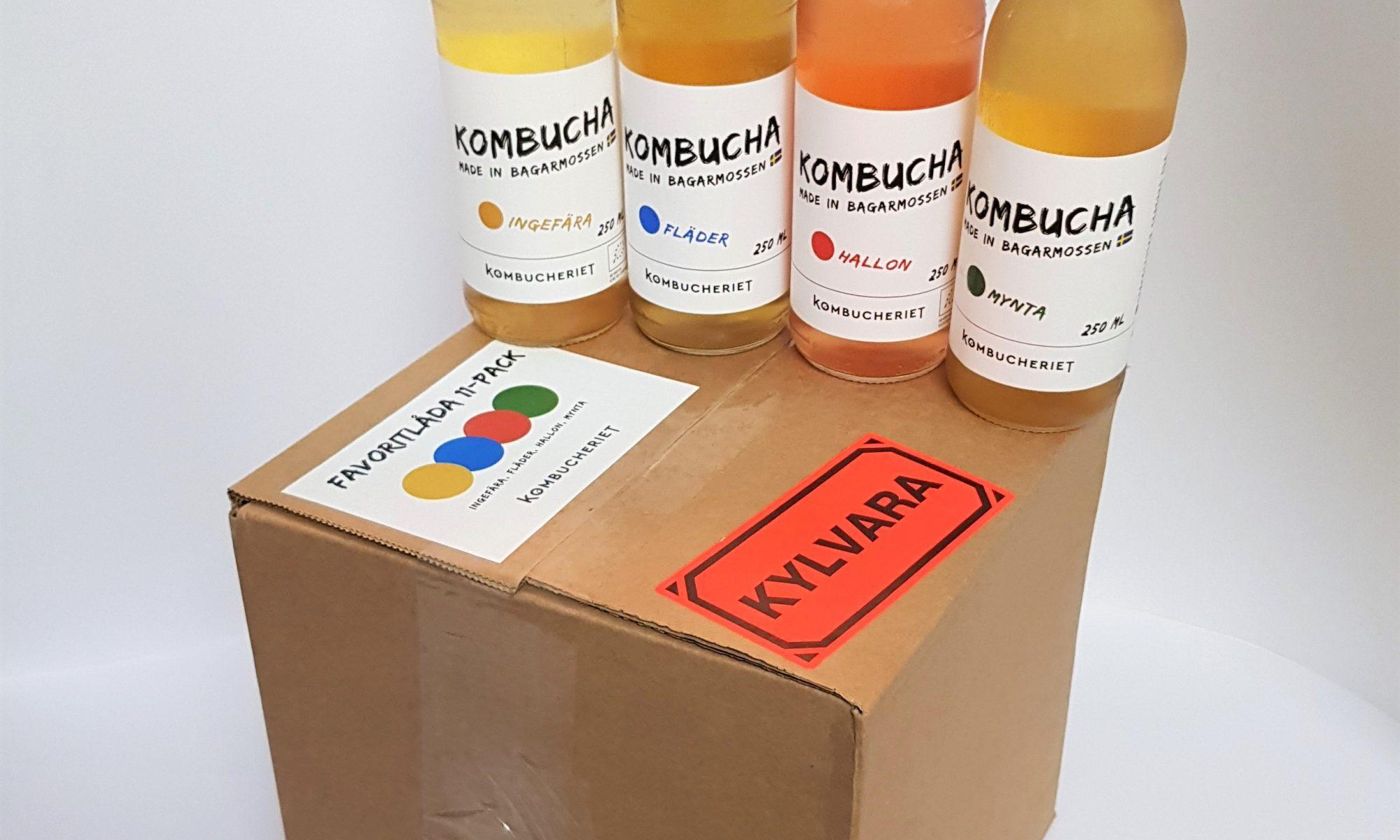 Produktbild på Favoritlåda med kombucha i smakerna ingefära, fläder, hallon och mynta